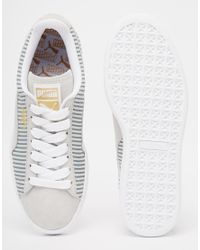 PUMA - Gray Suede Classic Lo Sneakers - Lyst