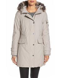London Fog | White Faux Fur Trim Parka | Lyst