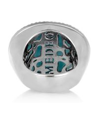 Amedeo - Blue Rhodium-Plated, Faux Turquoise And Topaz Monkey Cameo Ring - Lyst