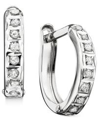 Macy's | Metallic Hoop Earrings, 14k White Gold Diamond Accents | Lyst