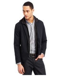 Kenneth Cole Reaction - Black Two-button Hooded Bib Blazer for Men - Lyst