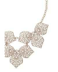 Oasis | Metallic Filigree Leaf Necklace | Lyst