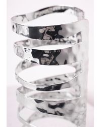 Missguided | Metallic Large Cut Out Cage Cuff Silver | Lyst