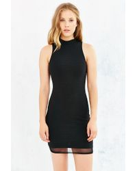 Silence + Noise - Black Olive Mock-neck Bodycon Mini Dress - Lyst