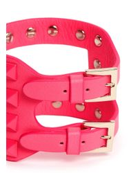 Valentino | Pink 'rockstud' Cutout Leather Bracelet | Lyst