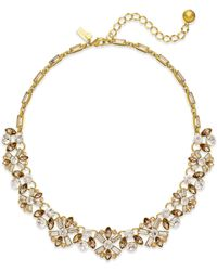 kate spade new york | Metallic 12k Gold-plated Imitation Pearl And Crystal Small Necklace | Lyst