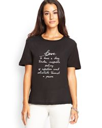 Forever 21 | Black Contemporary Love Defined Woven Tee | Lyst