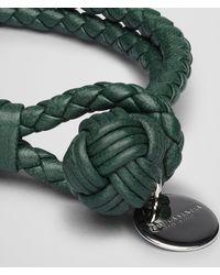 Bottega Veneta - Emerald Green Intrecciato Nappa Bracelet for Men - Lyst