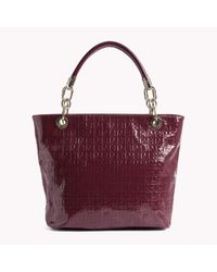 Tommy Hilfiger | Brown Patent Leather Tote | Lyst
