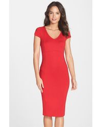 Felicity & Coco - Red V-neck Body-con Midi Dress - Lyst