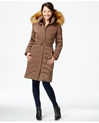Jones New York | Brown Faux-fur-hood Down Belted Puffer Coat | Lyst
