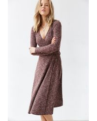 Kimchi Blue | Brown Ribbed Wrap Midi Dress | Lyst