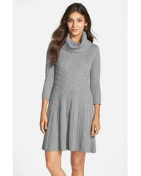 Eliza J | Gray Cowl-Neck Crepe Sweater Dress | Lyst