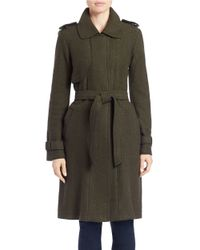 Vince Camuto | Green Long Wool-blend Trench Coat | Lyst