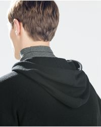 Zara   Black Structured Sweater With Hood for Men   Lyst