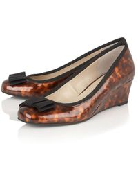 Lotus - Brown Rea Womens Wedge Heel Court Shoes - Lyst