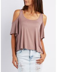 Charlotte Russe - Multicolor Scoop Neck Cold Shoulder Top - Lyst