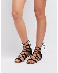 f35202bf936 Lyst - Charlotte Russe Lace-up Gladiator Sandals in Black