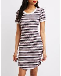 Charlotte Russe - Blue Striped Ringer Bodycon Dress - Lyst