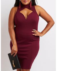 Charlotte Russe - Red Plus Size Mock Neck Cut-out Bodycon Dress - Lyst