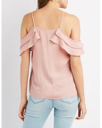 4733f828991c56 Lyst - Charlotte Russe Ruffle Lace-up Cold Shoulder Top in Purple