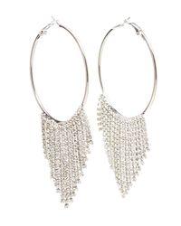 Charlotte Russe - Metallic Fringe Hoop Drop Earrings - Lyst