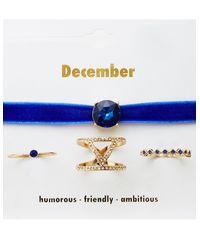 Charlotte Russe - Blue December Birthstone Choker Necklace & Rings Set - Lyst