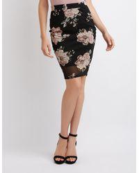 Charlotte Russe - Black Floral Mesh Pencil Skirt - Lyst