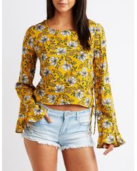 Charlotte Russe - Yellow Printed Lace Up Top - Lyst