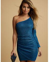 e98f7550480c Lyst - Charlotte Russe Glitter One Shoulder Bodycon Dress in Blue