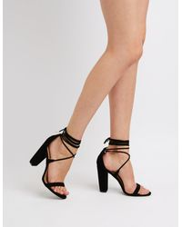 d9b510adb8f Lyst - Charlotte Russe Lace-up Ankle Wrap Sandals in Black