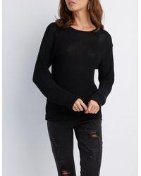 Charlotte Russe - Black Shaker Stitch Lattice-back Pullover Sweater - Lyst