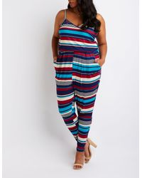 0511facce0c Lyst - Charlotte Russe Plus Size Striped Wrap Jumpsuit in Blue