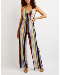 Charlotte Russe - Blue Striped Wrap Jumpsuit - Lyst