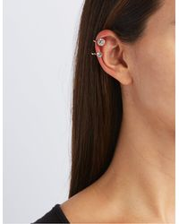 Charlotte Russe - Metallic Flower Ear Crawler & Stud Earrings Set - Lyst