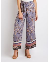 b13f3a1af91 Lyst - Charlotte Russe Floral Wide Leg Palazzo Pants in Blue