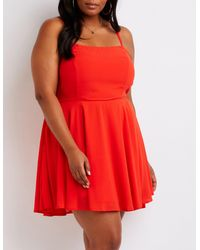 ddcb3696baf Lyst - Charlotte Russe Plus Size Lace Up Back Skater Dress in Red