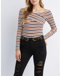 0023885e780a8a Charlotte Russe. Women's Striped & Ribbed Off-the-shoulder Top