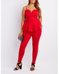 11ff850e5bf Lyst - Charlotte Russe Plus Size Notched Peplum Jumpsuit in Red