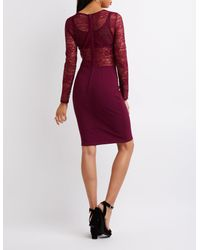 Charlotte Russe - Purple Long Sleeve Lace Bodycon Dress - Lyst