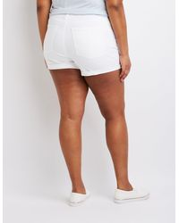 Charlotte Russe - White Plus Size Refuge Destroyed Girlfriend Shorts - Lyst