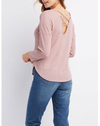 Charlotte Russe - Purple Waffled Knit Caged Top - Lyst