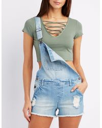 f6e8f42092 Lyst - Charlotte Russe Strappy Caged Crop Top in Green