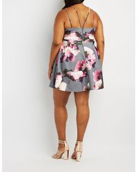 Charlotte Russe - Multicolor Plus Size Floral Strappy-back Skater Dress - Lyst