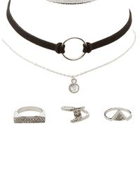 Charlotte Russe - Metallic Embellished Rings & Choker Necklaces - 6 Pack - Lyst