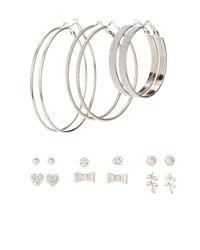 Charlotte Russe - Metallic Embellished Hoop & Stud Earrings - 9 Pack - Lyst
