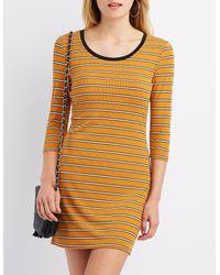 0c992935c5 Lyst - Charlotte Russe Striped Ringer Bodycon Dress in Orange