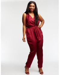 2db92096395 Lyst - Charlotte Russe Plus Size Satin Belted Jumpsuit in Red