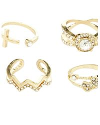 Charlotte Russe - Metallic Embellished Stackable Rings - 6 Pack - Lyst