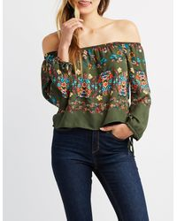 a11e99fce56d08 Lyst - Charlotte Russe Floral Off-the-shoulder Top in Green